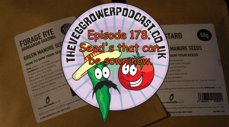 In this week's podcast I talk about seed's that can be sown now. I also share the latest on the allotment and vegetable patch.